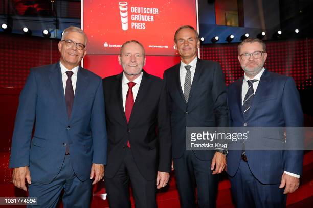 Thomas Bellut Helmut Schleweis Oliver Blume and Christian Krug during the Deutscher Gruenderpreis at ZDF Hauptstadtstudio on September 11 2018 in...
