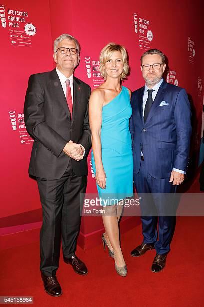 Thomas Bellut, Indendant ZDF, moderator Barbara Hahlweg and Christian Krug, chief editor Stern magazine attend the Deutscher Gruenderpreis on July 5,...