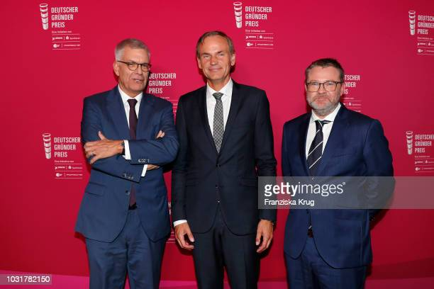Thomas Bellut Oliver Blume and Christian Krug attend the Deutscher Gruenderpreis at ZDF Hauptstadtstudio on September 11 2018 in Berlin Germany