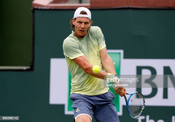 Thomas Berdych hits a backhand during the second round of the BNP Paribas Open on March 10 at the Indian Wells Tennis Gardens in Indian Wells CA