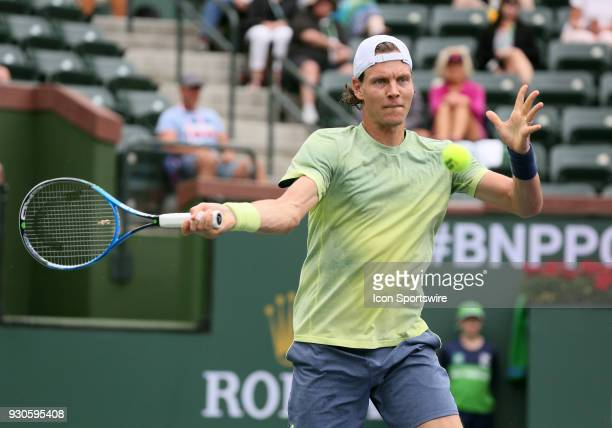 Thomas Berdych hits a forehand during the second round of the BNP Paribas Open on March 10 at the Indian Wells Tennis Gardens in Indian Wells CA
