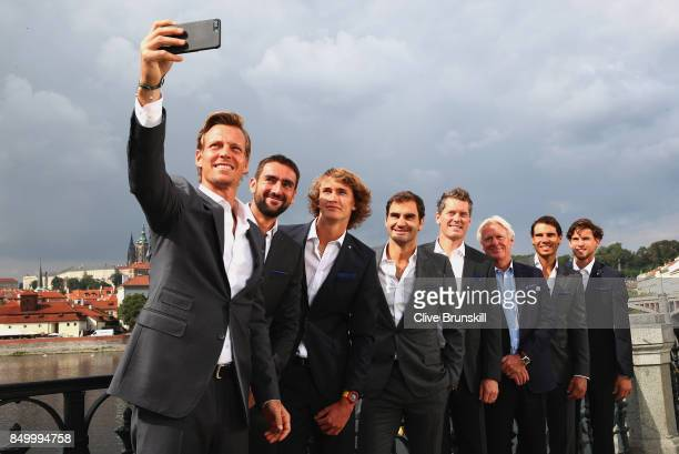 Thomas Berdych Marin Cilic Alexander Zverev Roger Federer Thomas Enqvist Bjorn Bjorg Rafael Nadal and Dominic Thiem of Team Europe pose for a selfie...