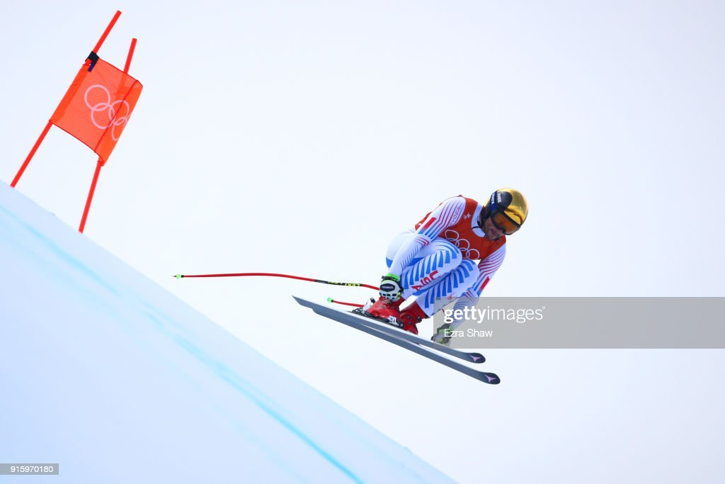 Thomas Biesemeyer of the United States makes a run during the Men's Downhill Alpine Skiing training at Jeongseon Alpine Centre on February 9, 2018 in Pyeongchang-gun, South Korea.