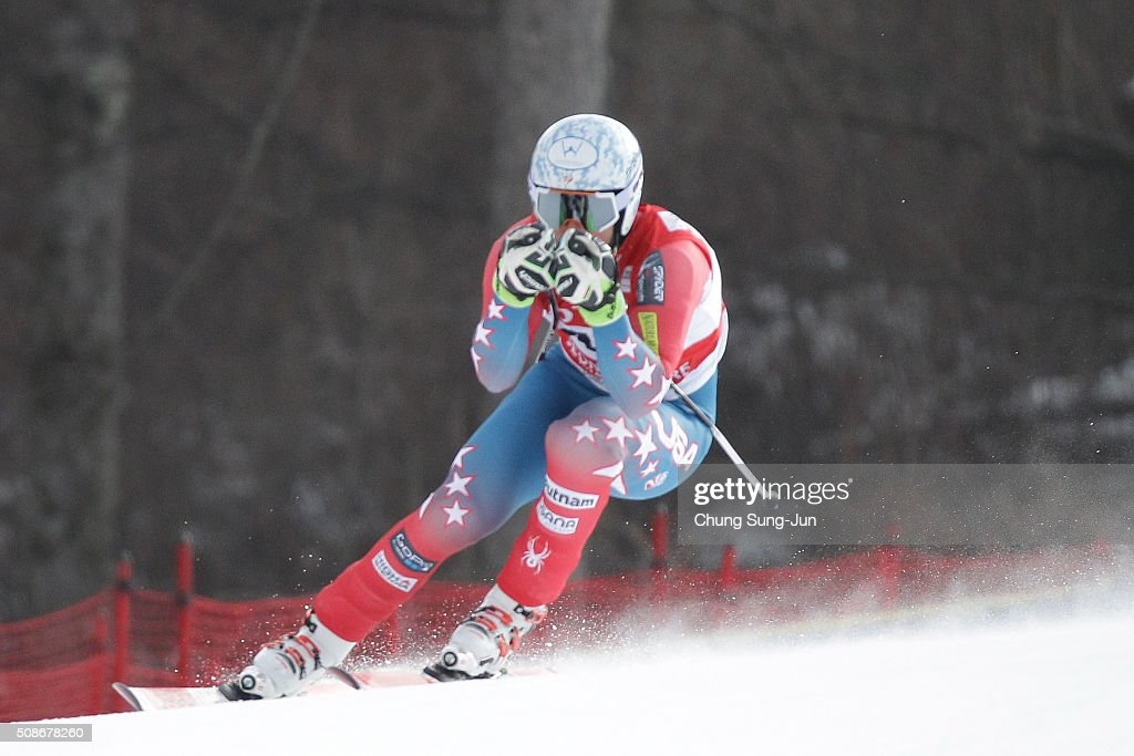 Thomas Biesemeyer of United States competes in the Men's Downhill Finals during the 2016 Audi FIS Ski World Cup at the Jeongseon Alpine Centre on February 6, 2016 in Jeongseon-gun, South Korea.