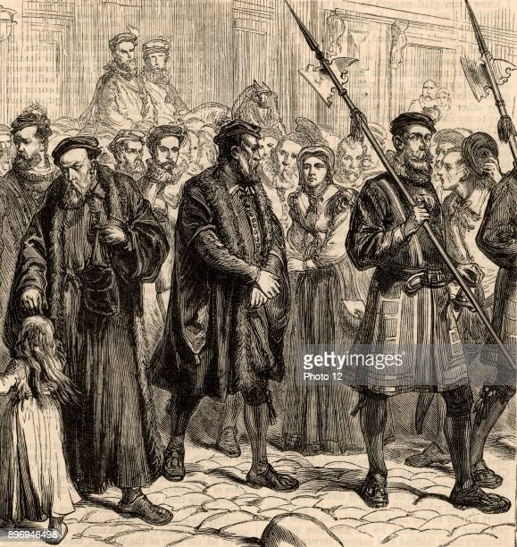 Thomas Bilney English martyr on his way to the be burned at the stake at Bishopsgate London having been condemned to death for heresy Engraving from...