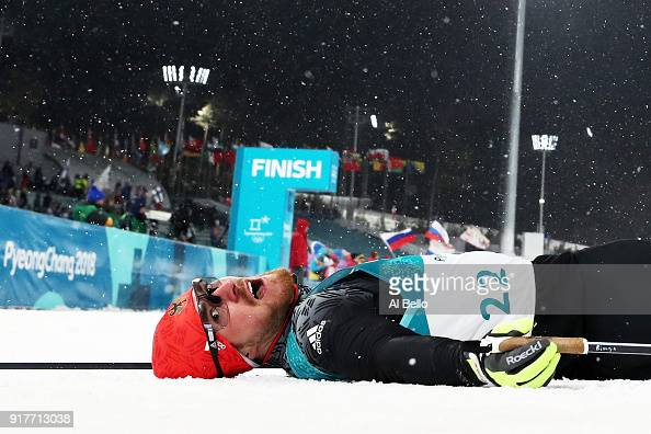 Thomas Bing of Germany lays on the snow during the CrossCountry Men's Sprint Classic Quarterfinal on day four of the PyeongChang 2018 Winter Olympic...