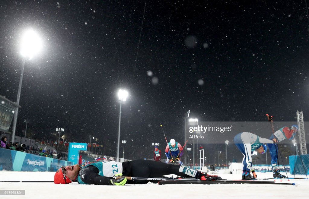 Thomas Bing of Germany lays on the snow during the Cross-Country Men's Sprint Classic Quarterfinal on day four of the PyeongChang 2018 Winter Olympic Games at Alpensia Cross-Country Centre on February 13, 2018 in Pyeongchang-gun, South Korea.