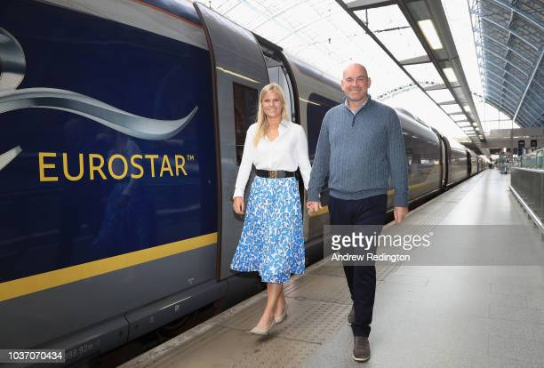 Thomas Bjorn and his girlfriend Grace Barber leave St Pancras to travel to Paris on September 21 2018 in St Pancras London