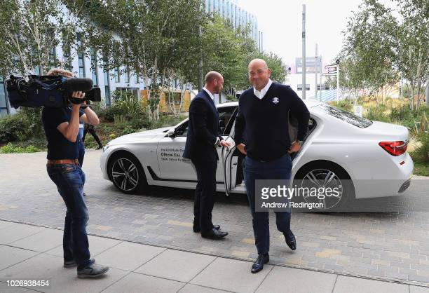 Thomas Bjorn arrives at Sky Studios ahead of the Ryder Cup Team Europe Wild Card Selection Announcement on September 5 2018 in Isleworth England