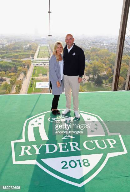 Thomas Bjorn Captain of Europe and girlfriend Grace Barber pose on a platform on the Eiffel Tower during the Ryder Cup 2018 Eiffel Tower Stunt on...
