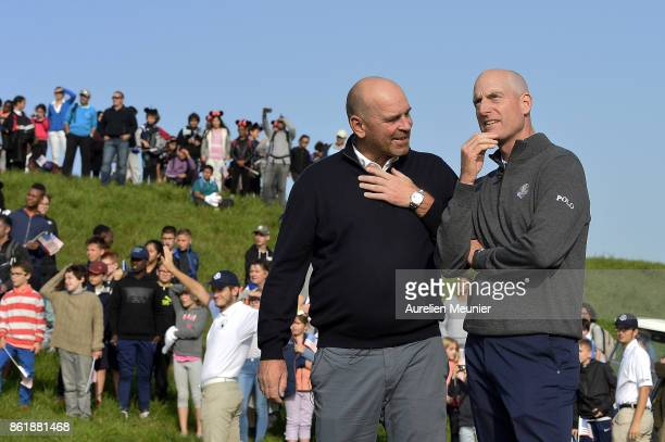 Thomas Bjorn of Denmark and Jim Furyk of the United States of America Captains of the Ryder Cup 2018 speak during the Captain's Challenge at Golf...