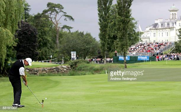 Thomas Bjorn of Denmark hits his second shot on the 16th hole during the final round of the Smurfit European Open on July 3 2005 on the Palmer Course...