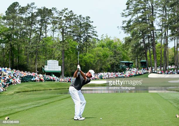 Thomas Bjorn of Denmark hits his tee shot on the 16th hole during the second round of the 2014 Masters Tournament at Augusta National Golf Club on...