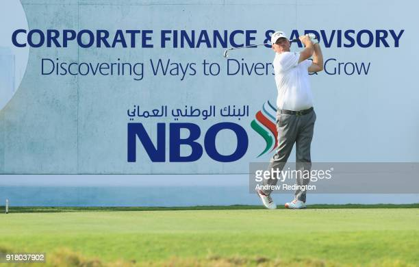Thomas Bjorn of Denmark in action during the Pro Am prior to the start of the NBO Oman Open at Al Mouj Golf on February 14 2018 in Muscat Oman