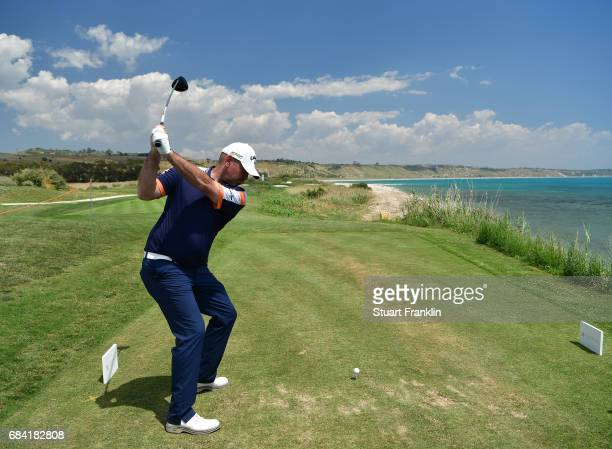 Thomas Bjorn of Denmark plays a shot during the pro am prior to the start of The Rocco Forte Open at Verdura Golf and Spa Resort on May 17 2017 in...