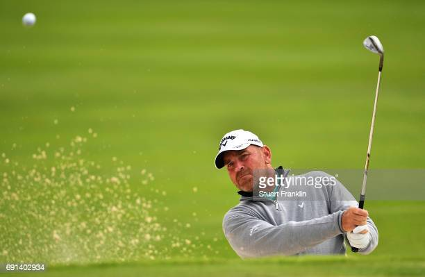 Thomas Bjorn of Denmark plays from the sand during the second round of The Nordea Masters at Barseback Golf Country Club on June 2 2017 in...