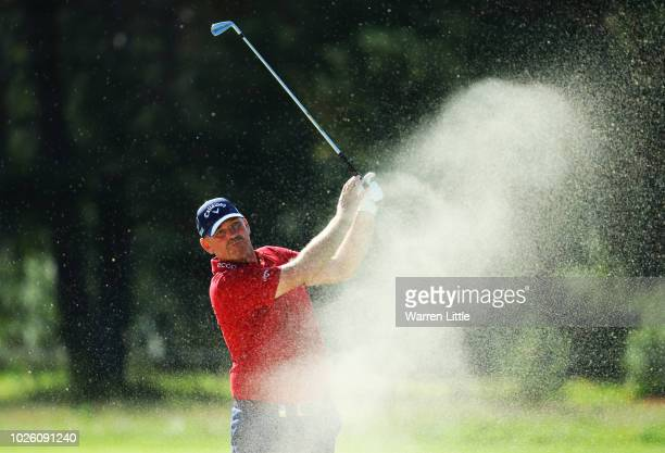 Thomas Bjorn of Denmark plays his second shot on the 9th hole during the final round on day four of the Made in Denmark played at the Silkeborg Ry GC...