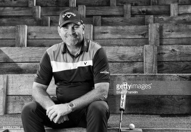 Thomas Bjorn of Denmark poses for a picture during the pro am prior to the start of the Omega European Masters at CranssurSierre Golf Club on...