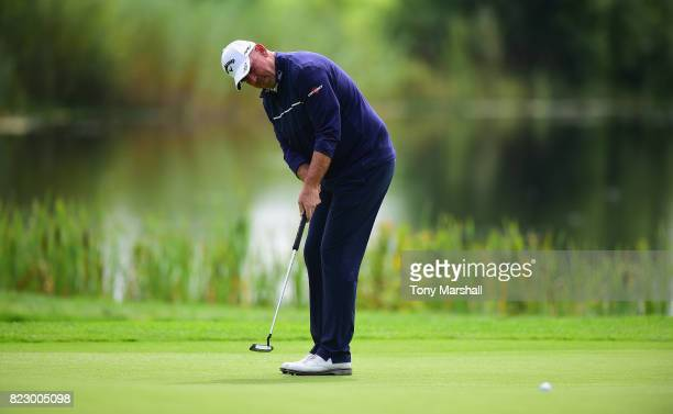 Thomas Bjorn of Denmark putts on the 3rd green during the Porsche European Open Pro Am at Green Eagle Golf Course on July 26 2017 in Hamburg Germany