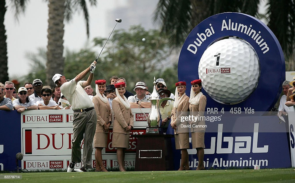 Thomas Bjorn of Denmark tees off at the 1st during the third round of the 2005 Dubai Desert Classic on the Majilis Course at the Emirates Golf Club, on March 05, 2005, in Dubai, United Arab Emirates.