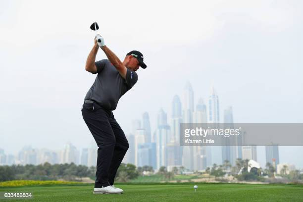 Thomas Bjorn of Denmark tees off on the 8th hole during the first round of the Omega Dubai Desert Classic at Emirates Golf Club on February 2 2017 in...