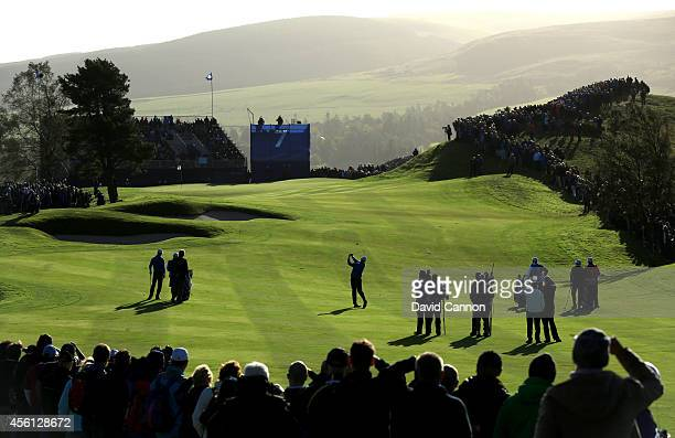 Thomas Bjorn of Europe plays towards the 7th green during the Morning Fourballs of the 2014 Ryder Cup on the PGA Centenary course at the Gleneagles...