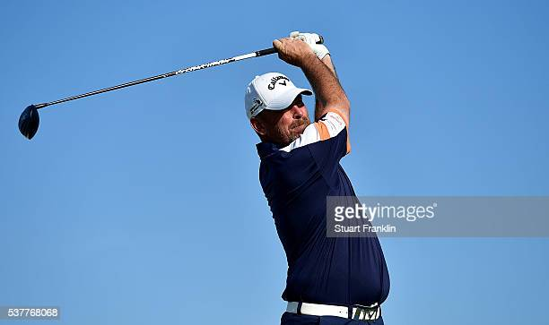 Thomas Bjorn of Norway hits his tee shot on the 12th hole during the second round on day two of the Nordea Masters at Bro Hof Slott Golf Club on June...