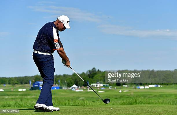 Thomas Bjorn of Norway hits his tee shot on the 14th hole during the second round on day two of the Nordea Masters at Bro Hof Slott Golf Club on June...