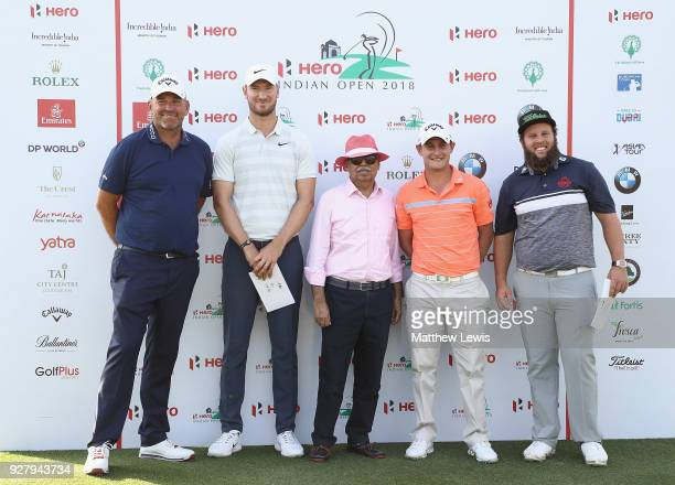 Thomas Bjorn of Sweden Chris Wood of England Emiliano Grillo of Argentina and Andrew Johnston of England pictured with Pawan Munjal Chairman of Hero...