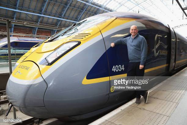 Thomas Bjorn poses for a photograph before he leaves St Pancras on the Eurostar to travel to Paris on September 21 2018 in St Pancras London