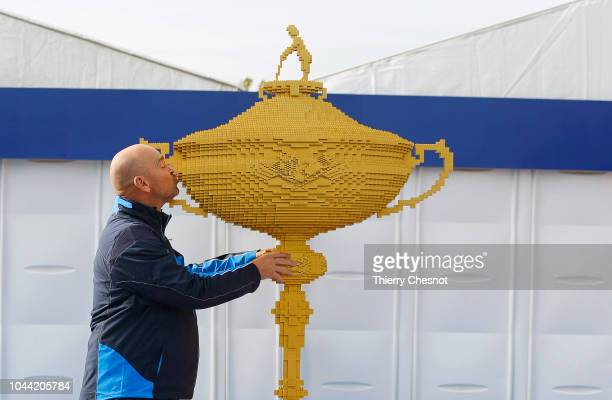 The largest ever replica Ryder Cup trophy made entirely from LEGO bricks stands ready to welcome spectators to the 42nd Ryder Cup at Le Golf National...