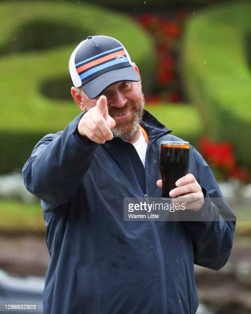 Thomas Bjørn, Team Europe's winning captain at the 2018 Ryder Cup has a drink of coke after completing his 130mile four-day charity walk from the...