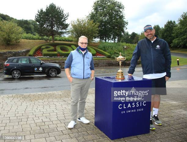 Thomas Bjørn, Team Europe's winning captain at the 2018 Ryder Cup, poses for a photograph with Keith Pelley, CEO of the European Tour and the Ryder...