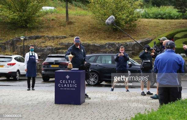 Thomas Bjørn, Team Europe's winning captain at the 2018 Ryder Cup, returns the Ryder Cup trophy after completing his 130mile four-day charity walk...