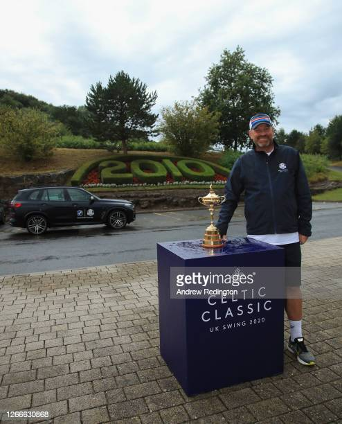 Thomas Bjørn, Team Europe's winning captain at the 2018 Ryder Cup, with the Ryder Cup trophy after completing his 130mile four-day charity walk from...