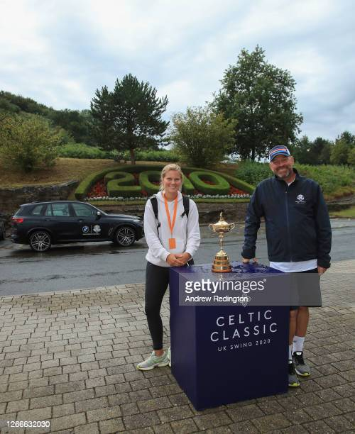 Thomas Bjørn, Team Europe's winning captain at the 2018 Ryder Cup, with the Ryder Cup trophy and his partner Grace Barber, after completing his...