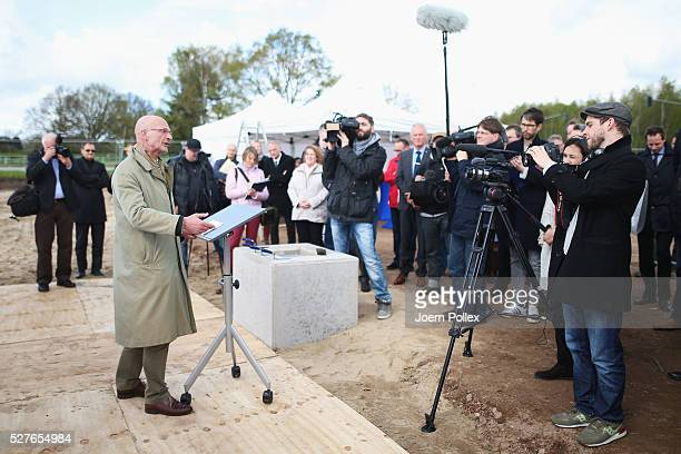 Thomas Bosse Councilor of Norderstedt speaks to the attendant crowd during the foundation stone laying ceremony for the new Condair EMEA Logistic and...