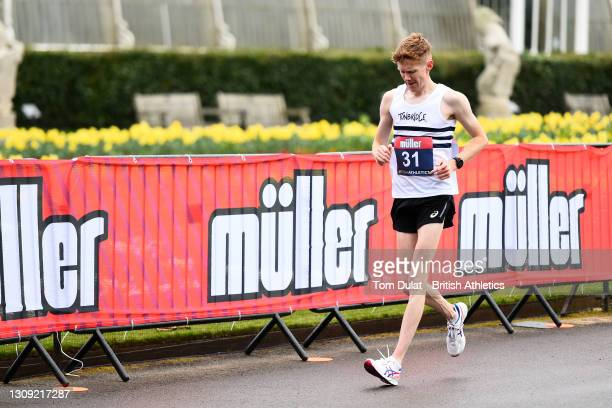 Thomas Bosworth in action as he competes in the mens 20km walking race during the Muller British Athletics Marathon and 20km Walk Trials at Kew...