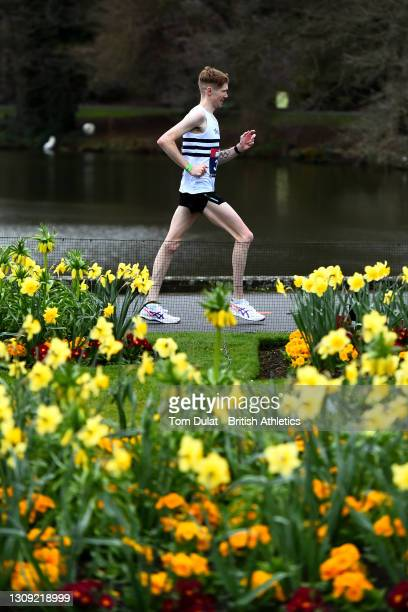 Thomas Bosworth in action during the mens 20km walking race during the Muller British Athletics Marathon and 20km Walk Trials at Kew Gardens on March...