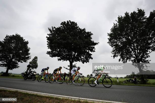 Thomas Boudat of France and Direct Energie, Taylor Phinney of USA and Cannondale Drapac Professional Cycling Team, Yoann Offredo of France and Wanty...