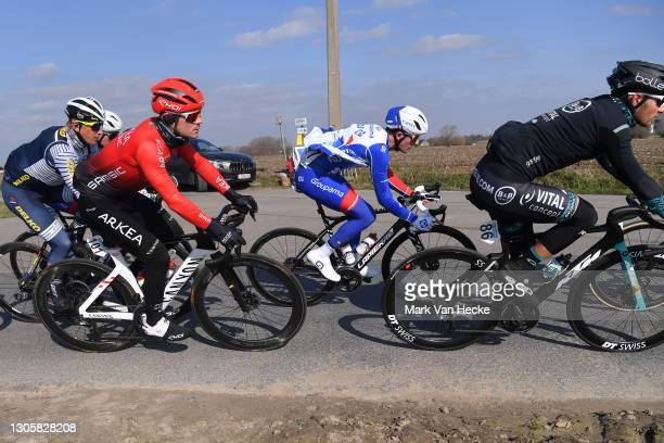 Thomas Boudat of France and Team Arkéa - Samsic & Marijn Van Den Berg of The Netherlands and Team Groupama-FDJ during the 10th Grote Prijs Jean,...