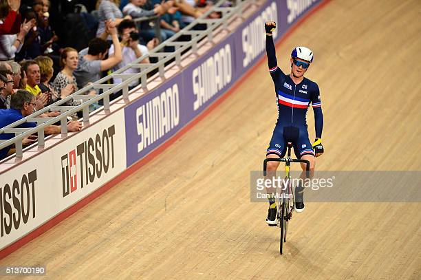 Thomas Boudat of France celebrates after winning the Mens Omnium during Day Three of the UCI Track Cycling World Championships at Lee Valley Velopark...