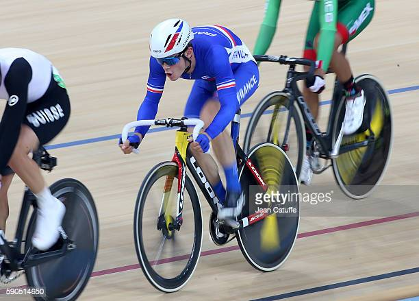 Thomas Boudat of France competes during the Men's Omnium of the cycling track at Rio Olympic Velodrome on August 15, 2016 in Rio de Janeiro, Brazil.