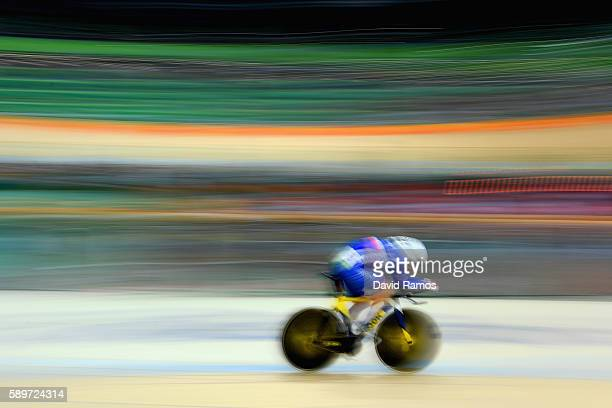 Thomas Boudat of France competes in the Cycling Track Men's Omnium Time Trial on Day 10 of the Rio 2016 Olympic Games at the Rio Olympic Velodrome on...