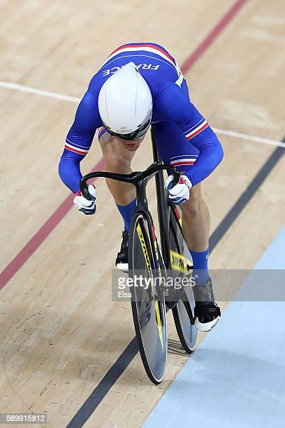 Thomas Boudat of France competes in the Cycling Track Men's Omnium Flying Lap on on Day 10 of the Rio 2016 Olympic Games at the Rio Olympic Velodrome...
