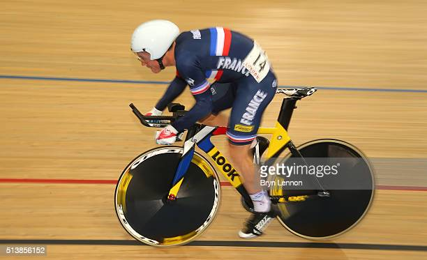 Thomas Boudat of France competes in the Men's Omnium 1km Time Trial during Day Four of the UCI Track Cycling World Championships at Lee Valley...