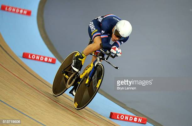Thomas Boudat of France races in the Individual Pursuit during the Men's Omnium during Day Three of the UCI Track Cycling World Championships at Lee...
