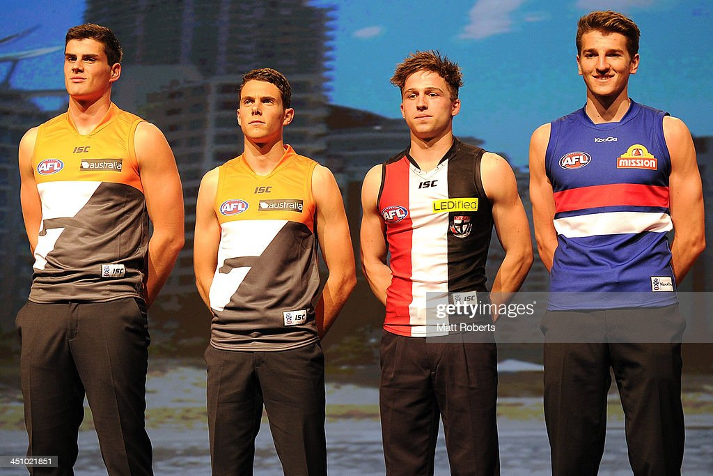Thomas Boyd, Joshua Kelly, Jack Billings and Marcus Bontempelli pose on stage during the 2013 NAB AFL Draft on November 21, 2013 on the Gold Coast, Australia.