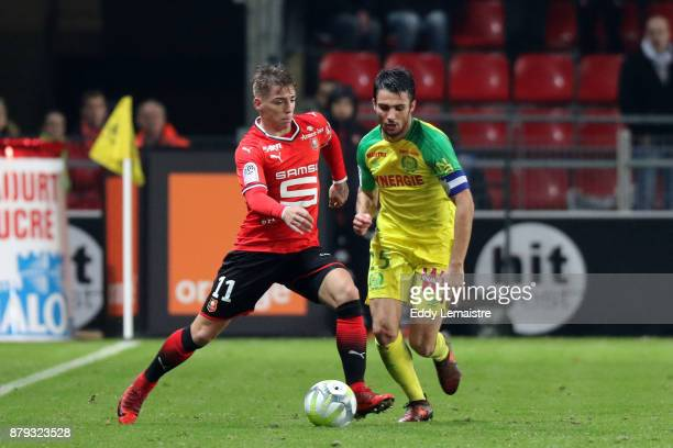 Thomas Brandon of Rennes and Leo Dubois of Nantes during the Ligue 1 match between Stade Rennais and Nantes at Roazhon Park on November 25 2017 in...