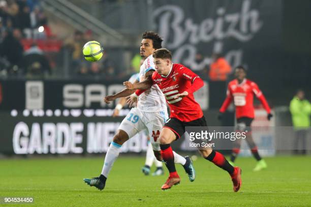 Thomas Brandon of Rennes and Luiz Gustavo of Marseille during the Ligue 1 match between Rennes and Marseille at Roazhon Park on January 13 2018 in...